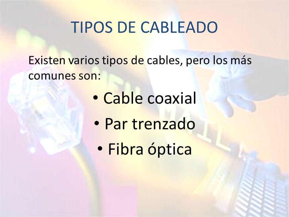 TIPOS DE CABLEADO Cable coaxial Par trenzado Fibra óptica