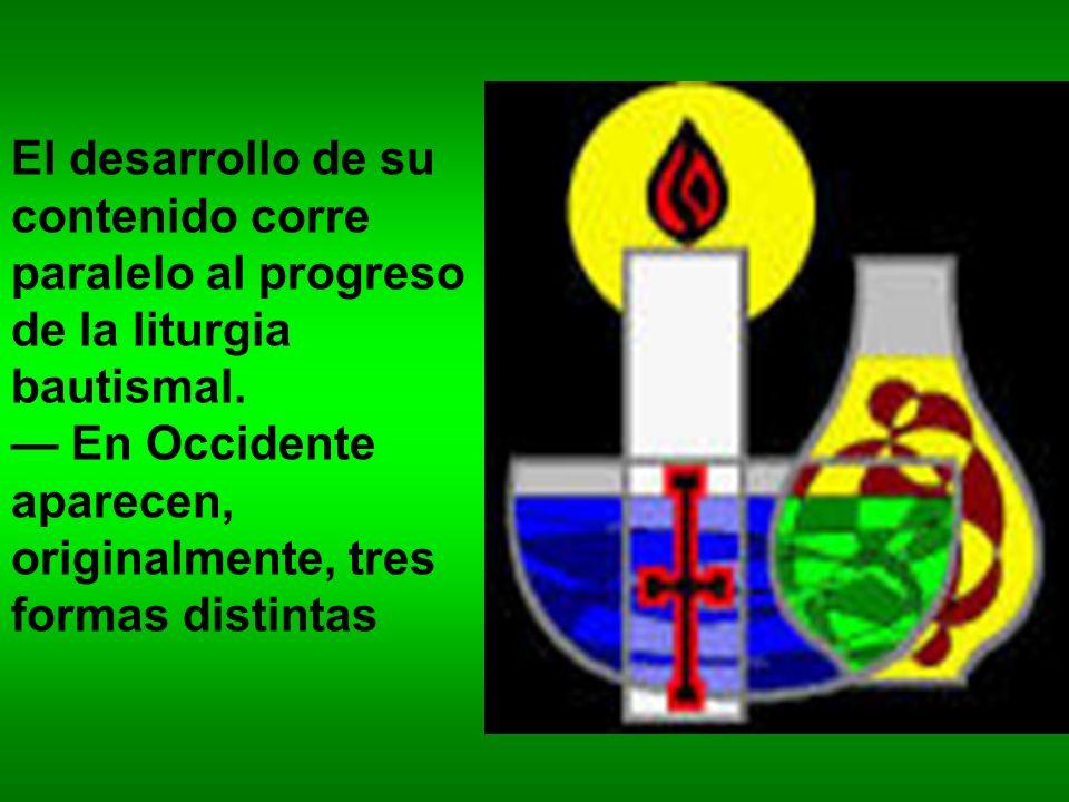 El desarrollo de su contenido corre paralelo al progreso de la liturgia bautismal.