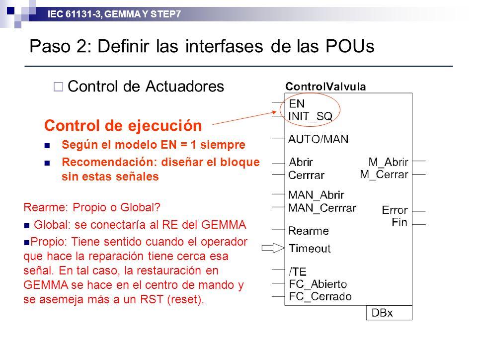 Paso 2: Definir las interfases de las POUs