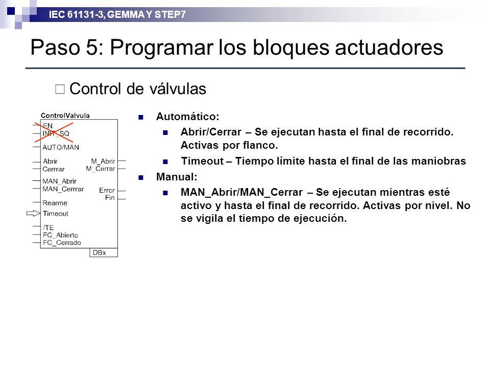 Paso 5: Programar los bloques actuadores