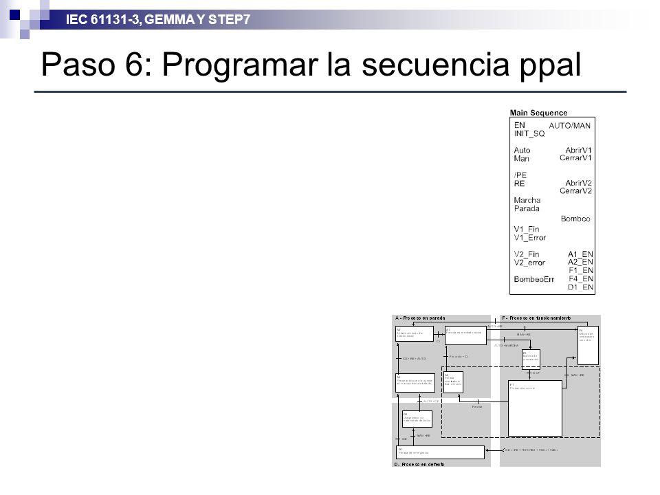 Paso 6: Programar la secuencia ppal