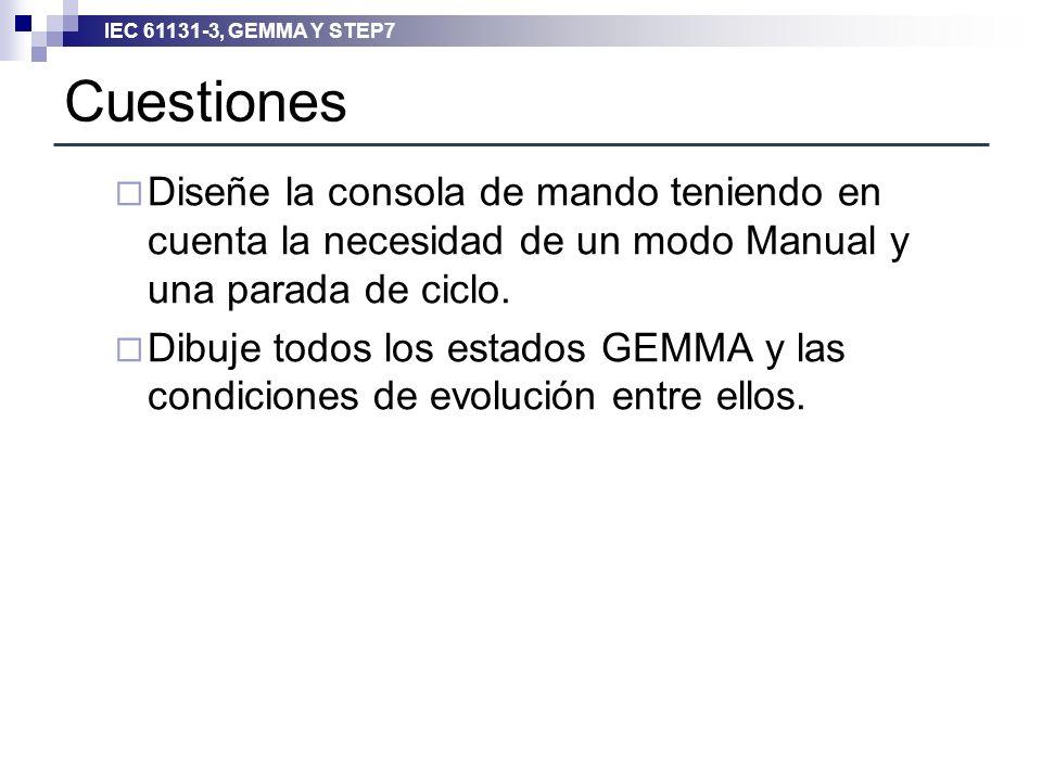 Cuestiones Diseñe la consola de mando teniendo en cuenta la necesidad de un modo Manual y una parada de ciclo.