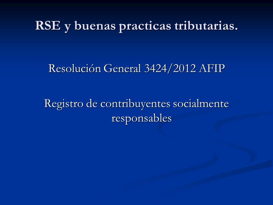 RSE y buenas practicas tributarias.