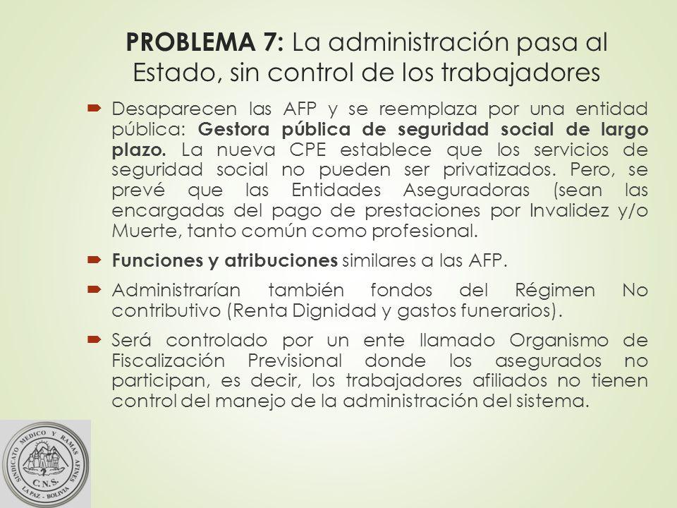 PROBLEMA 7: La administración pasa al Estado, sin control de los trabajadores