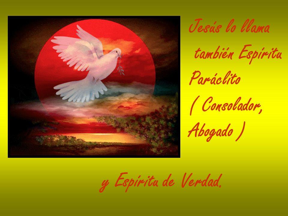 Jesús lo llama también Espíritu Paráclito ( Consolador, Abogado ) y Espíritu de Verdad.