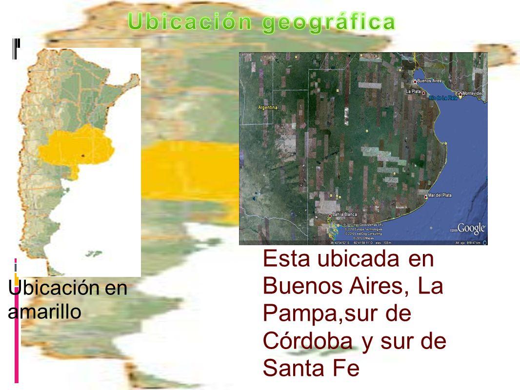 Ubicación geográfica Esta ubicada en Buenos Aires, La Pampa,sur de Córdoba y sur de Santa Fe Ubicación en amarillo.
