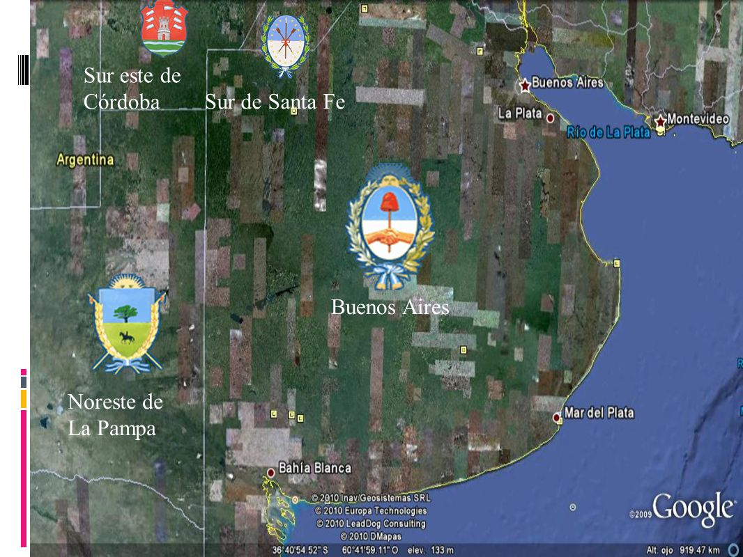 Sur este de Córdoba Sur de Santa Fe Buenos Aires Noreste de La Pampa