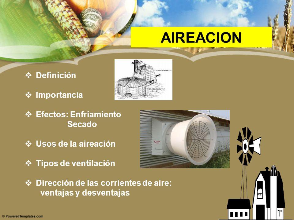 AIREACION Definición Importancia Efectos: Enfriamiento Secado