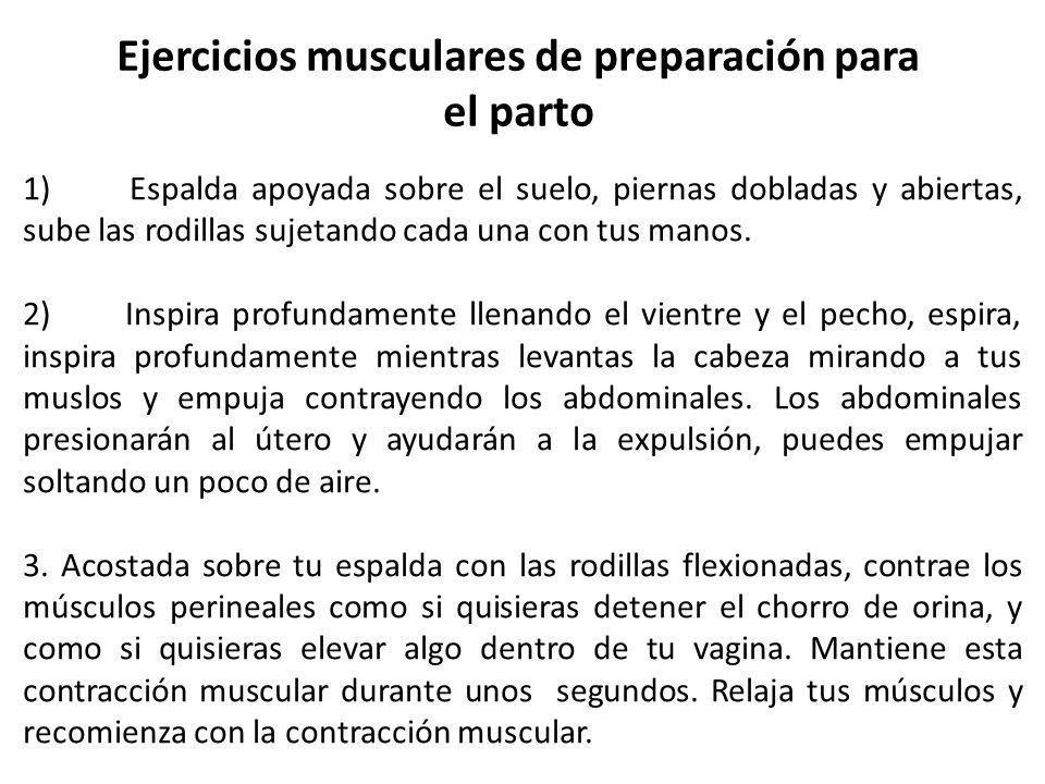 Ejercicios musculares de preparación para el parto