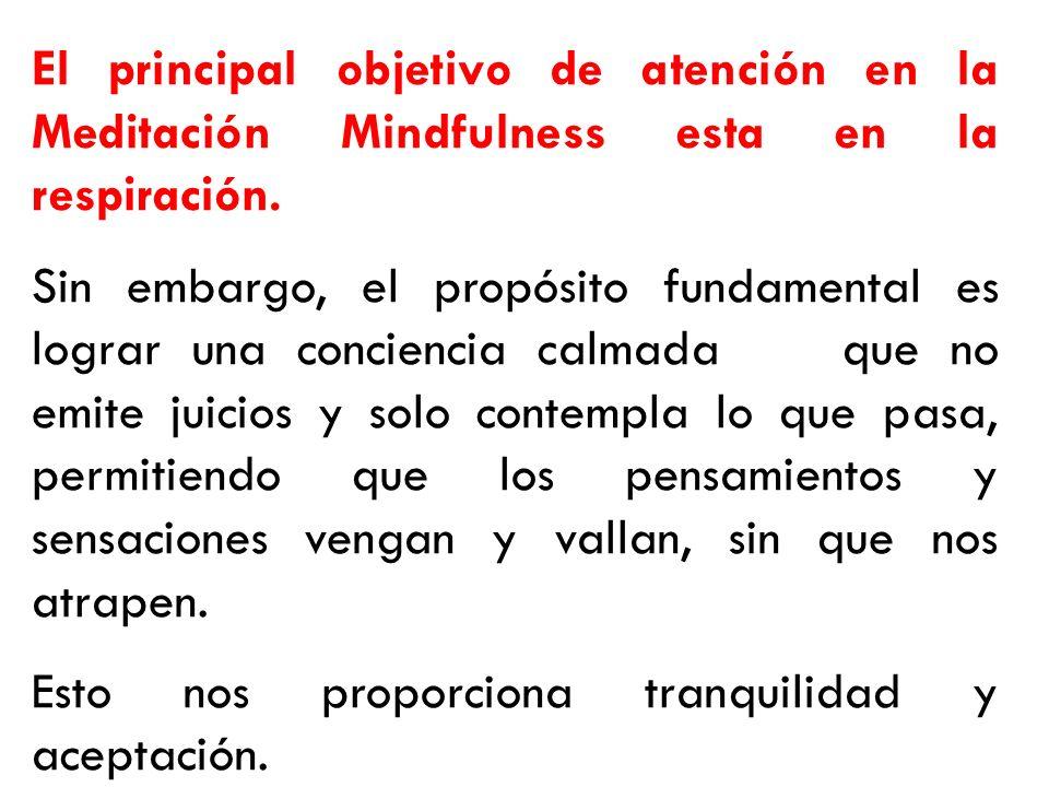 El principal objetivo de atención en la Meditación Mindfulness esta en la respiración.