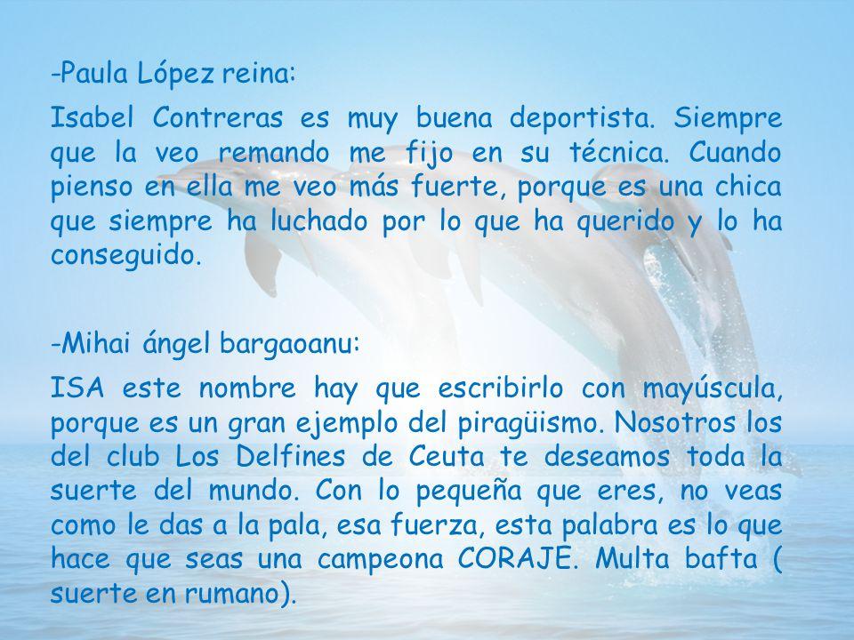 -Paula López reina: Isabel Contreras es muy buena deportista