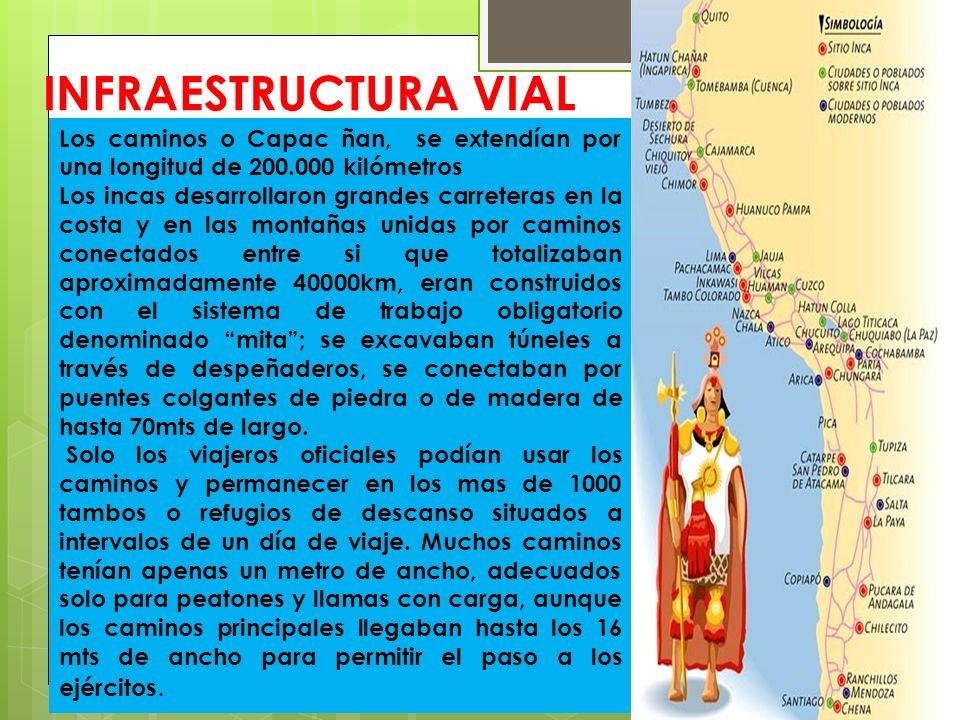 INFRAESTRUCTURA VIAL Los caminos o Capac ñan, se extendían por una longitud de 200.000 kilómetros.