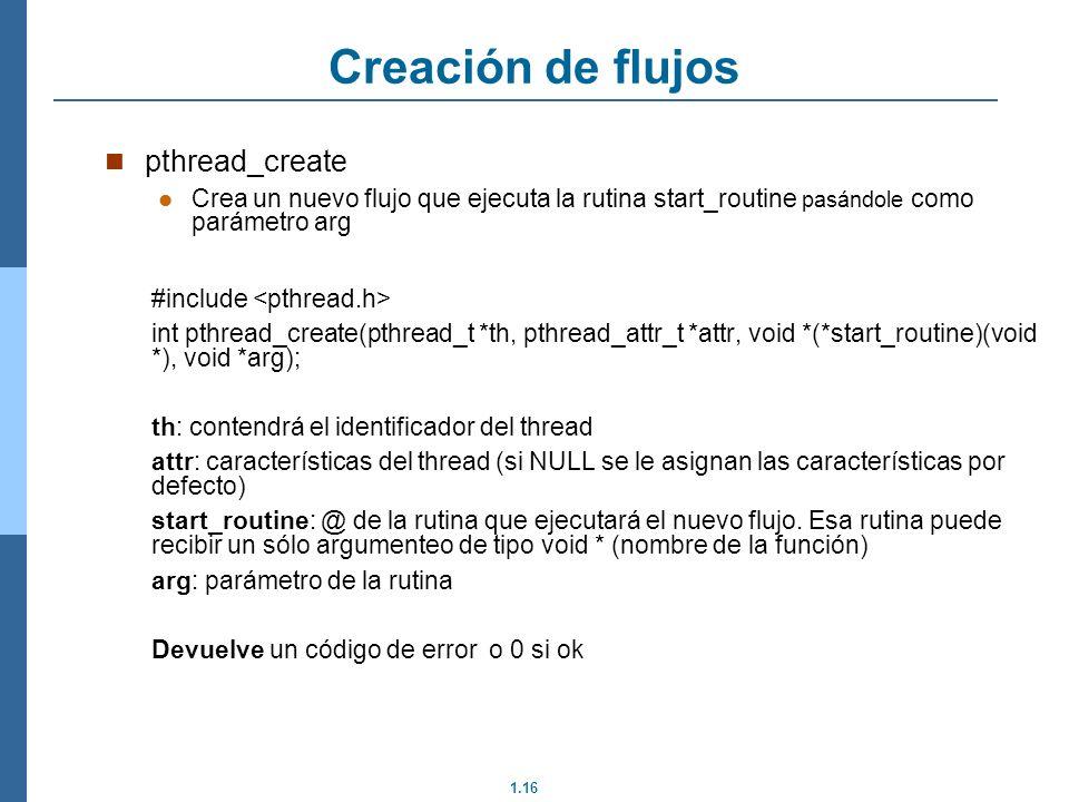 Creación de flujos pthread_create