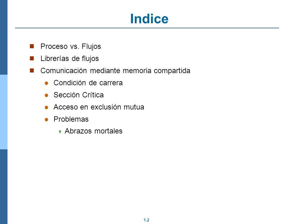 Indice Proceso vs. Flujos Librerías de flujos
