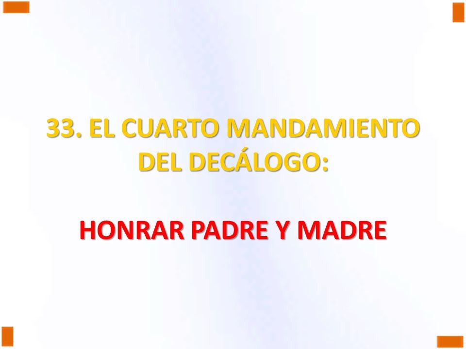 33. EL CUARTO MANDAMIENTO DEL DECÁLOGO: HONRAR PADRE Y MADRE
