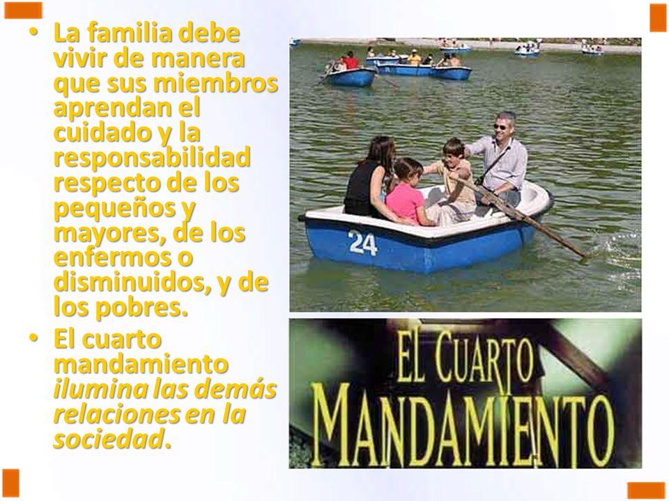 La familia debe vivir de manera que sus miembros aprendan el cuidado y la responsabilidad respecto de los pequeños y mayores, de los enfermos o disminuidos, y de los pobres.