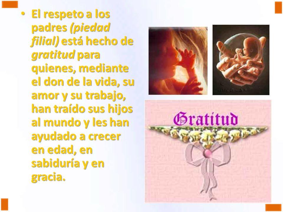El respeto a los padres (piedad filial) está hecho de gratitud para quienes, mediante el don de la vida, su amor y su trabajo, han traído sus hijos al mundo y les han ayudado a crecer en edad, en sabiduría y en gracia.