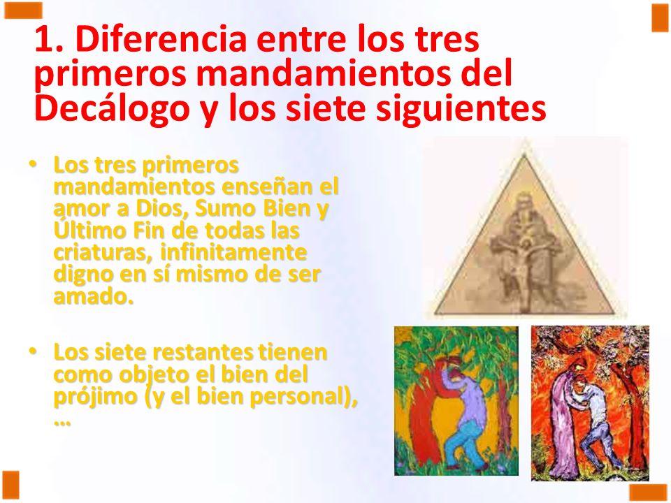 1. Diferencia entre los tres primeros mandamientos del Decálogo y los siete siguientes