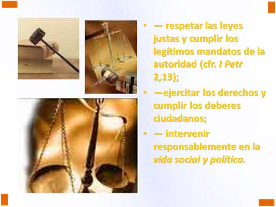 — respetar las leyes justas y cumplir los legítimos mandatos de la autoridad (cfr. I Petr 2,13);