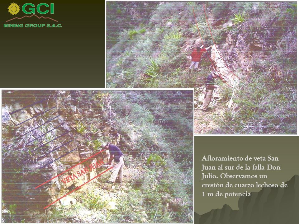 Afloramiento de veta San Juan al sur de la falla Don Julio