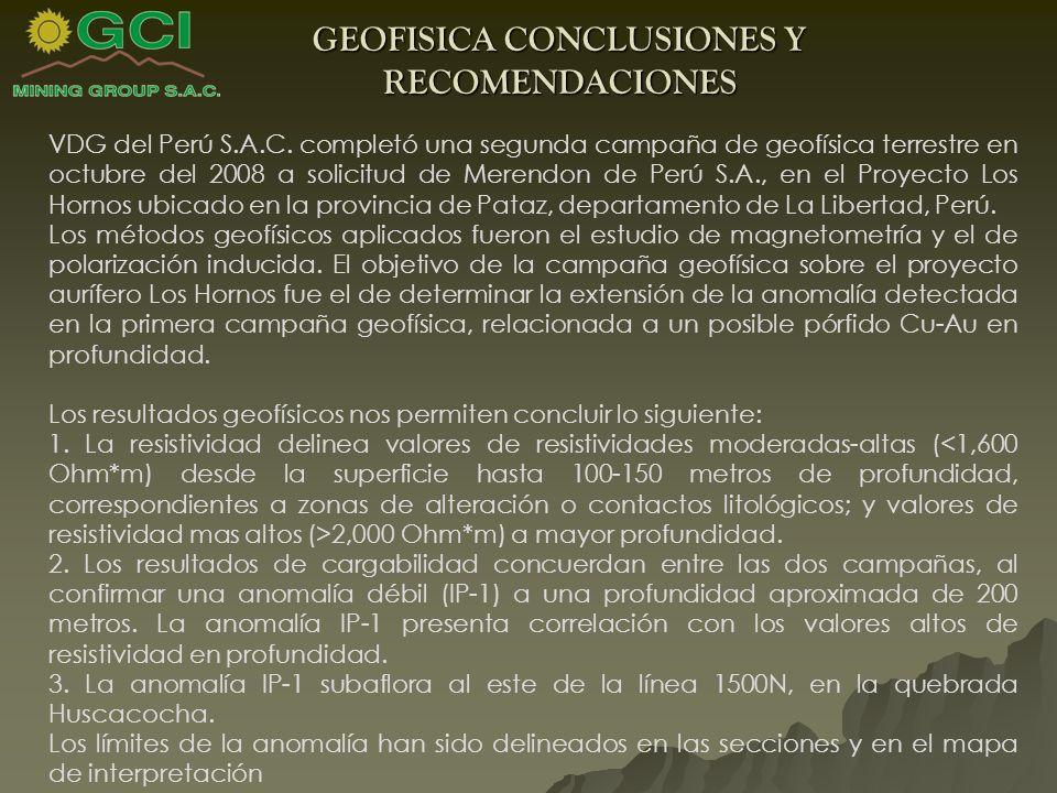 GEOFISICA CONCLUSIONES Y RECOMENDACIONES
