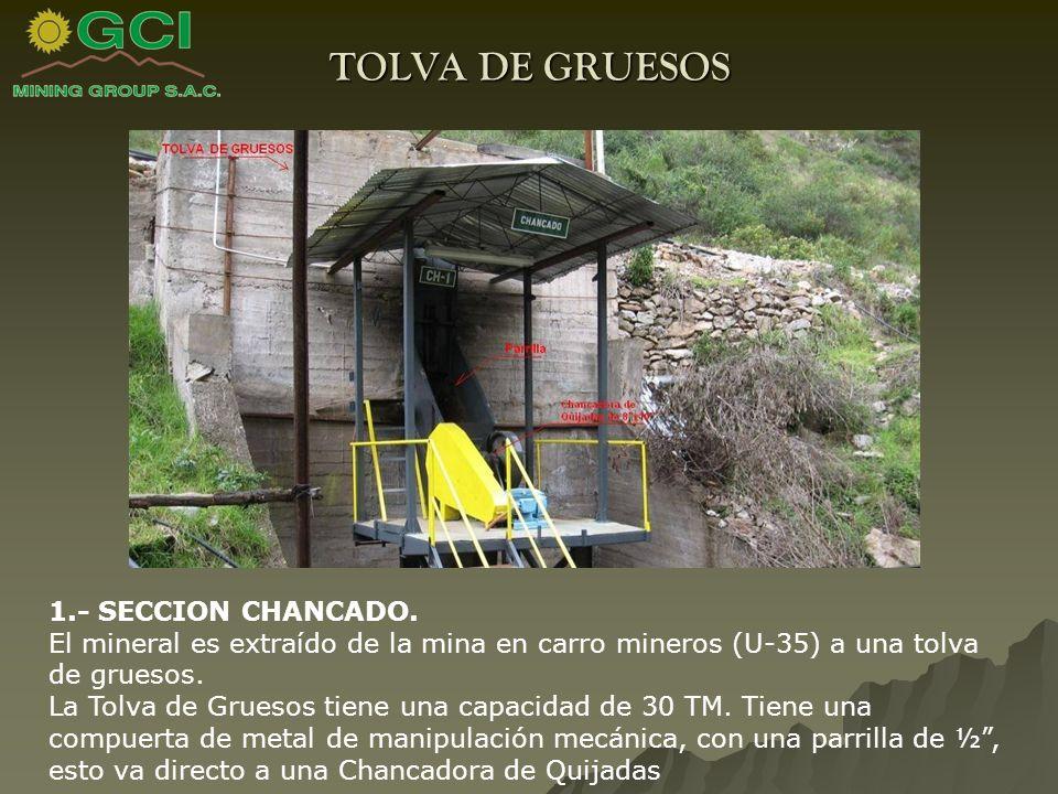 TOLVA DE GRUESOS 1.- SECCION CHANCADO.