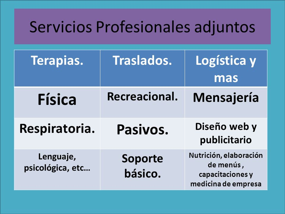 Servicios Profesionales adjuntos