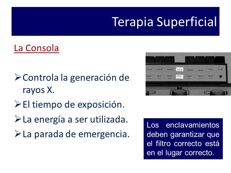 Terapia Superficial La Consola Controla la generación de rayos X.