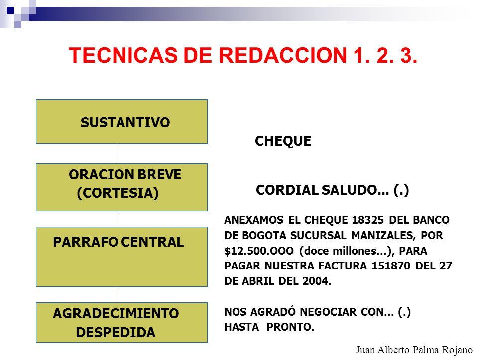 TECNICAS DE REDACCION 1. 2. 3. SUSTANTIVO CHEQUE ORACION BREVE