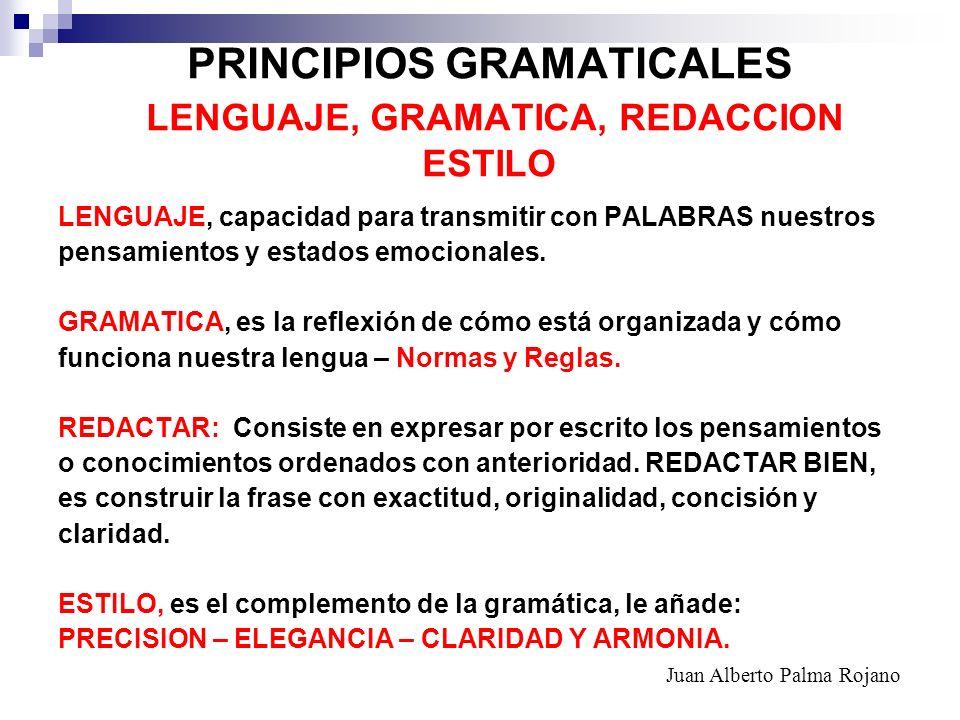 PRINCIPIOS GRAMATICALES LENGUAJE, GRAMATICA, REDACCION ESTILO