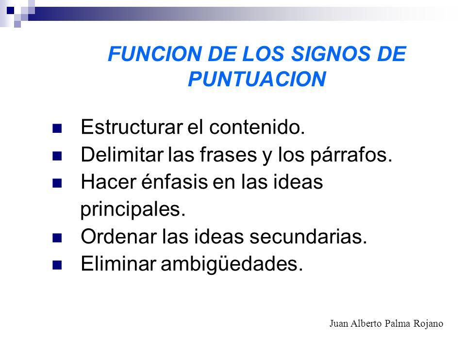 FUNCION DE LOS SIGNOS DE PUNTUACION