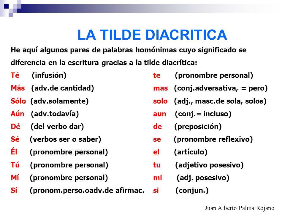 LA TILDE DIACRITICA He aquí algunos pares de palabras homónimas cuyo significado se. diferencia en la escritura gracias a la tilde diacrítica: