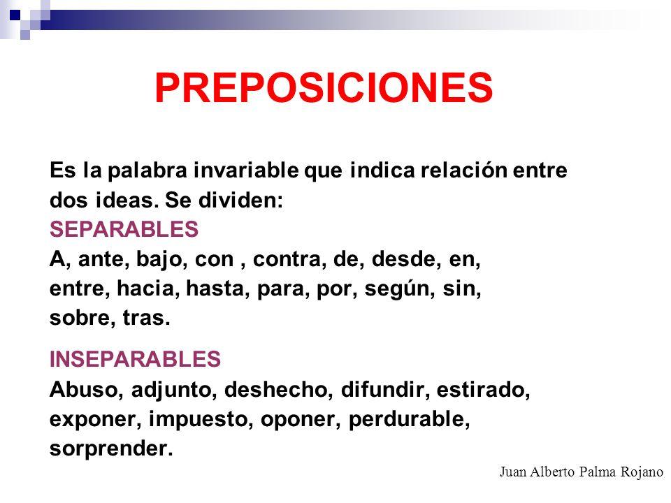 PREPOSICIONES Es la palabra invariable que indica relación entre