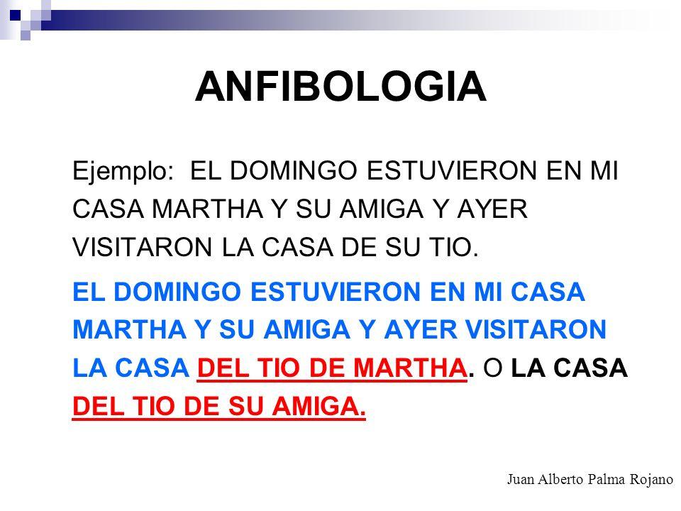 ANFIBOLOGIA Ejemplo: EL DOMINGO ESTUVIERON EN MI CASA MARTHA Y SU AMIGA Y AYER VISITARON LA CASA DE SU TIO.