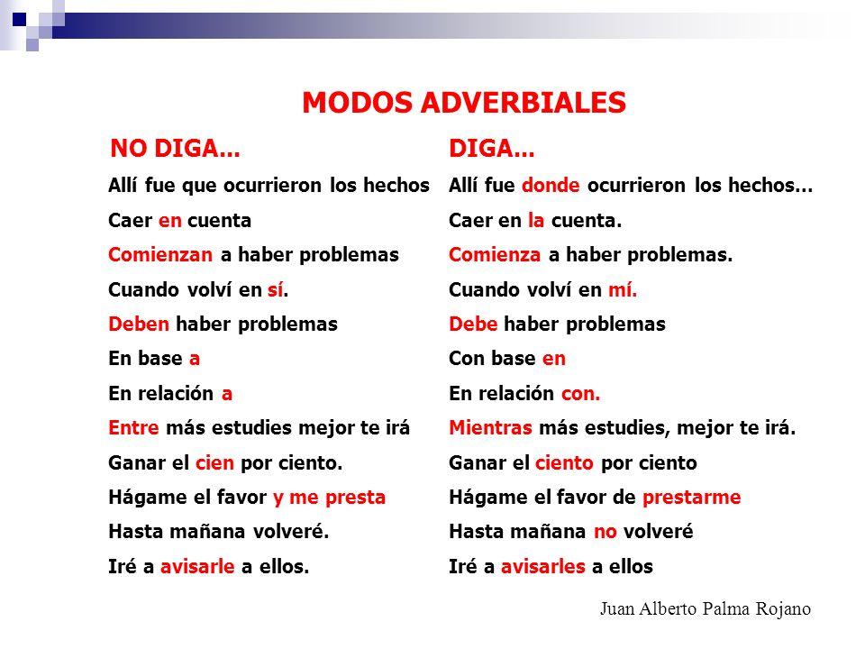 MODOS ADVERBIALES NO DIGA... DIGA...