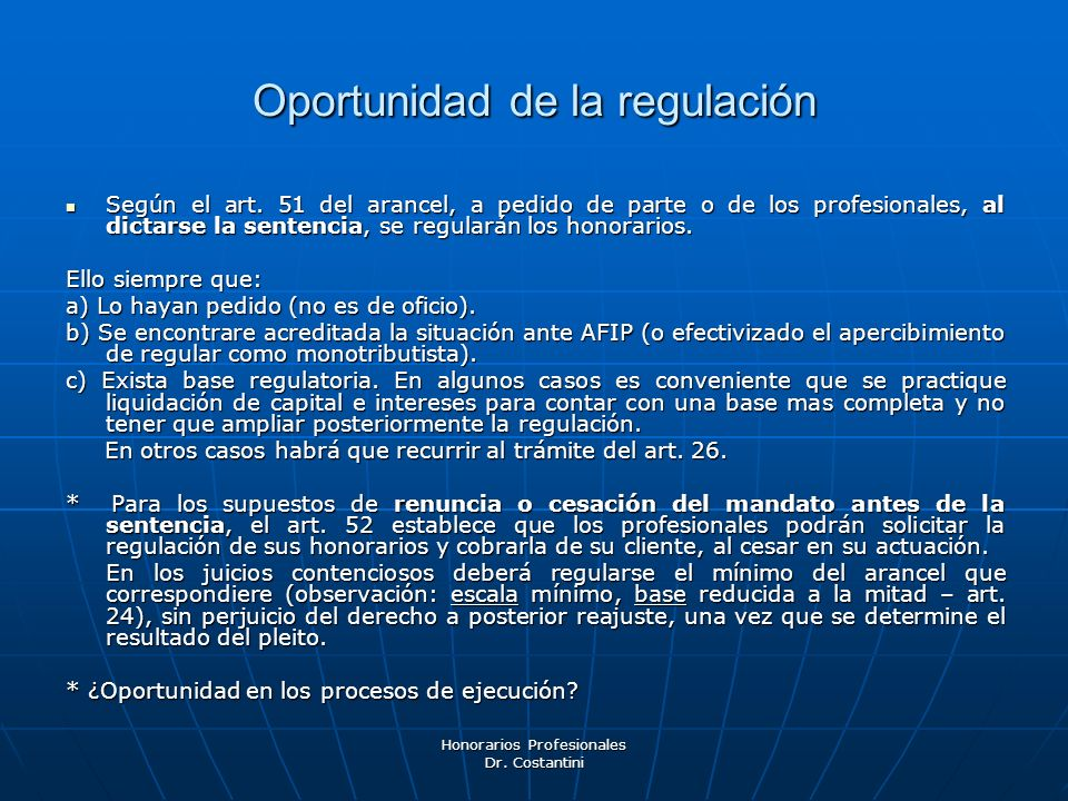 Oportunidad de la regulación