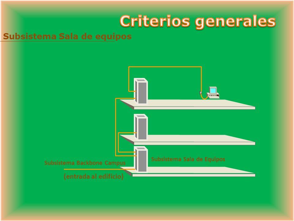 Criterios generales Subsistema Sala de equipos (entrada al edificio)