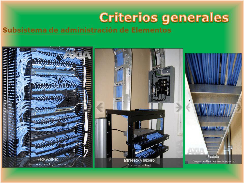 Criterios generales Subsistema de administración de Elementos