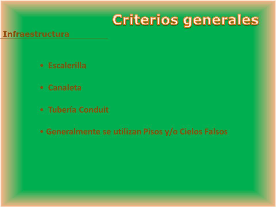 Criterios generales Escalerilla Canaleta Tubería Conduit