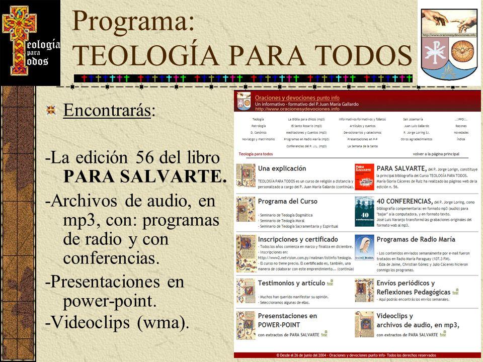 Programa: TEOLOGÍA PARA TODOS