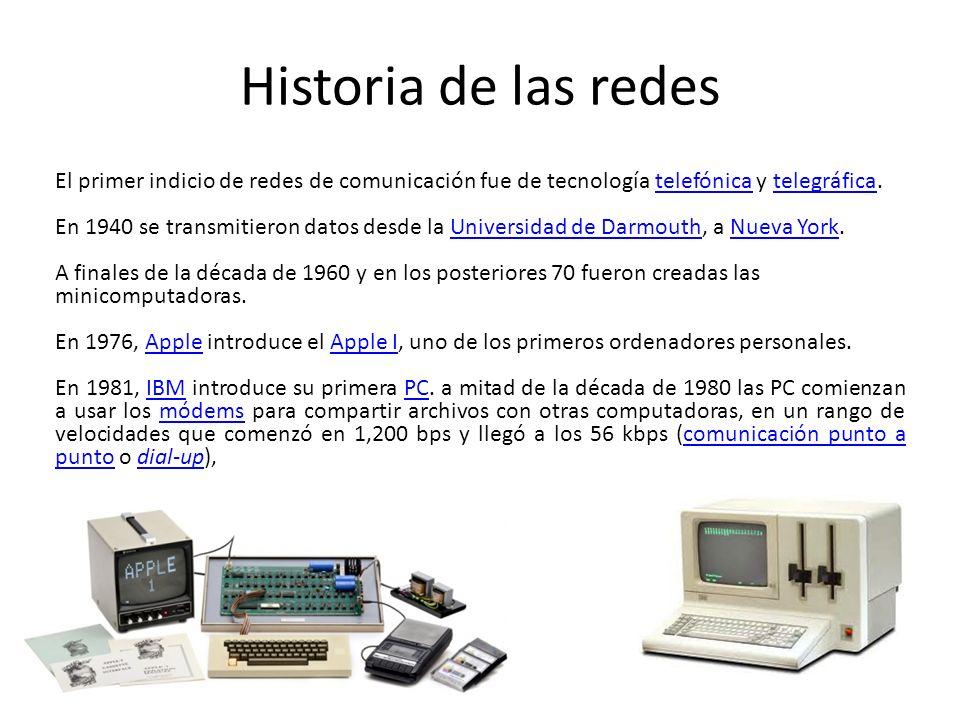 Historia de las redes El primer indicio de redes de comunicación fue de tecnología telefónica y telegráfica.