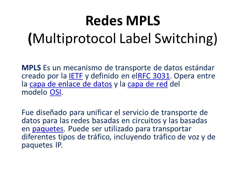 Redes MPLS (Multiprotocol Label Switching)