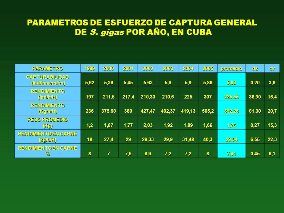 PARAMETROS DE ESFUERZO DE CAPTURA GENERAL DE S. gigas POR AÑO, EN CUBA