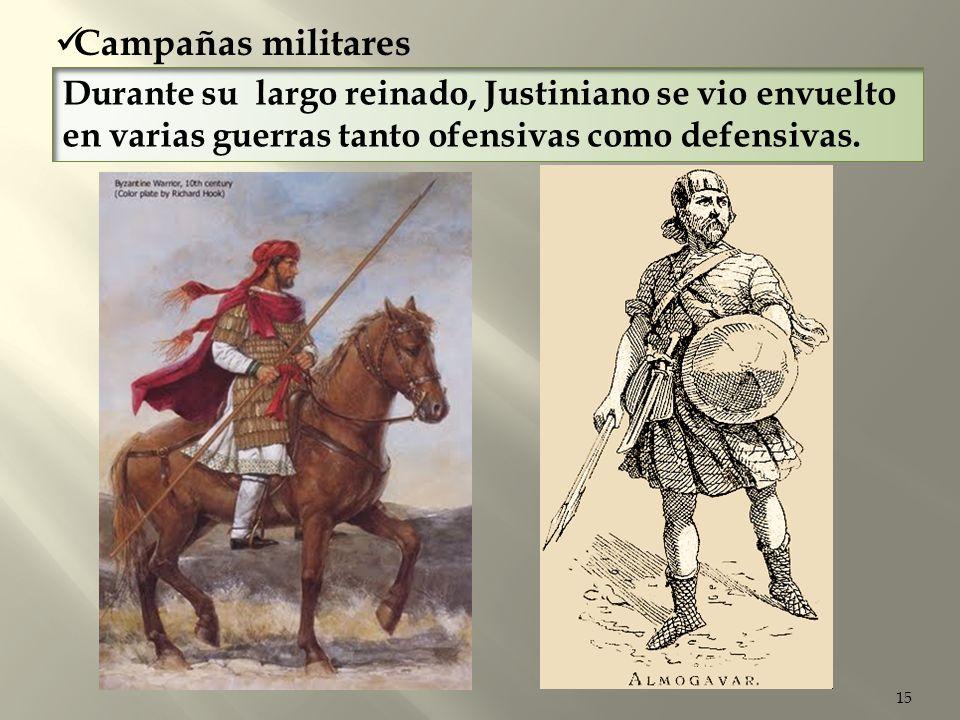 Campañas militares Durante su largo reinado, Justiniano se vio envuelto en varias guerras tanto ofensivas como defensivas.