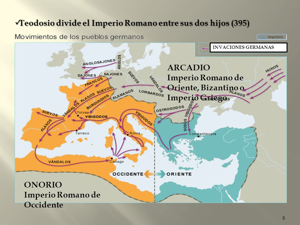 Teodosio divide el Imperio Romano entre sus dos hijos (395)