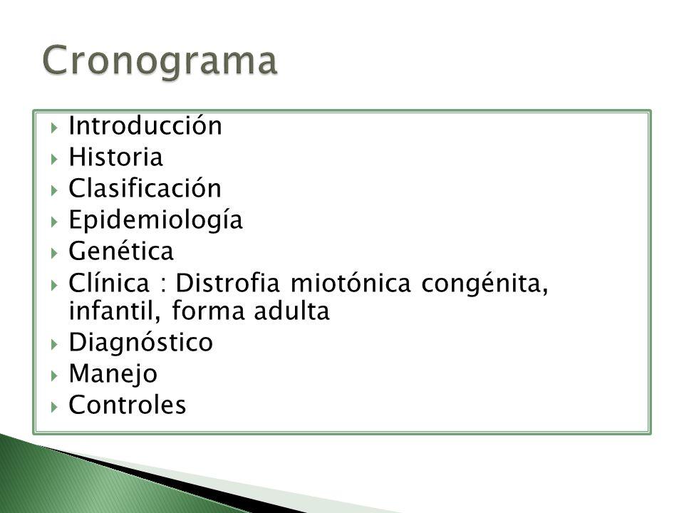 Cronograma Introducción Historia Clasificación Epidemiología Genética