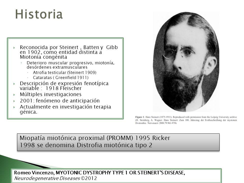Historia Miopatía miotónica proximal (PROMM) 1995 Ricker