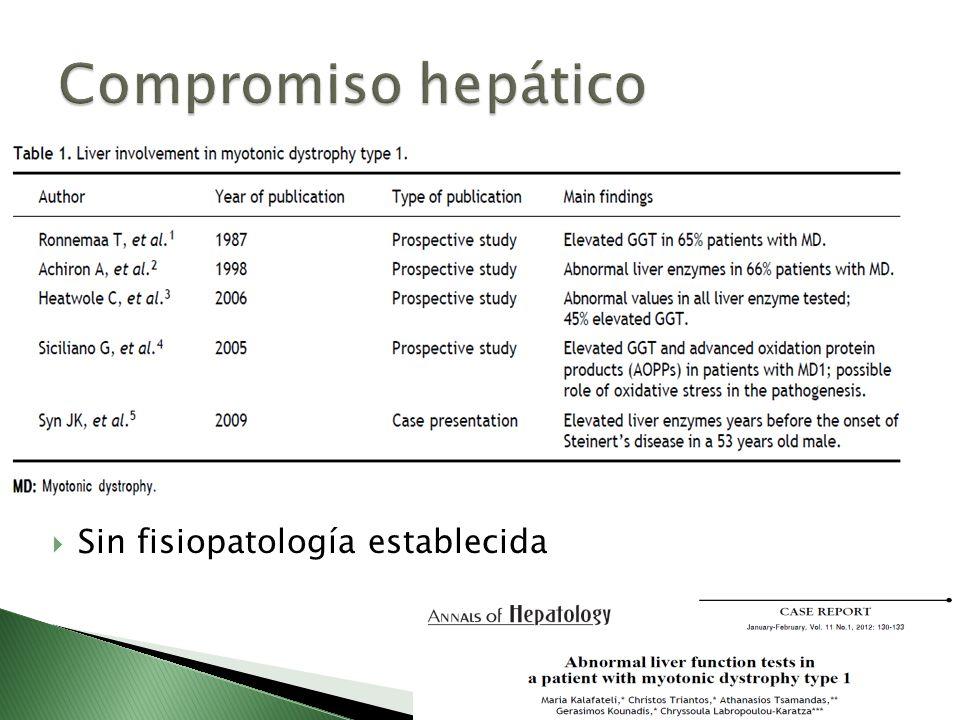 Compromiso hepático Sin fisiopatología establecida
