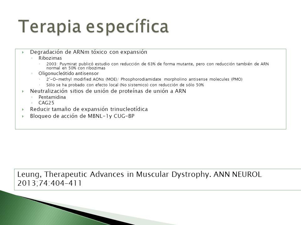 Terapia específica Degradación de ARNm tóxico con expansión. Ribozimas.