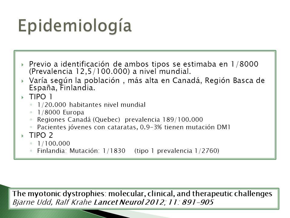 Epidemiología Previo a identificación de ambos tipos se estimaba en 1/8000 (Prevalencia 12,5/100.000) a nivel mundial.